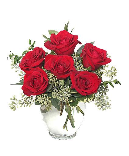 Rosey Romance - 6 roses